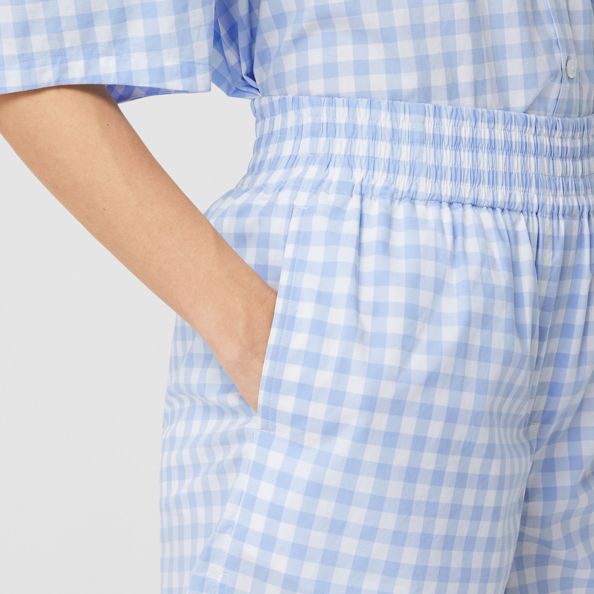 Gingham Cotton Shorts in Pale Blue - Women | Burberry - gallery image 1