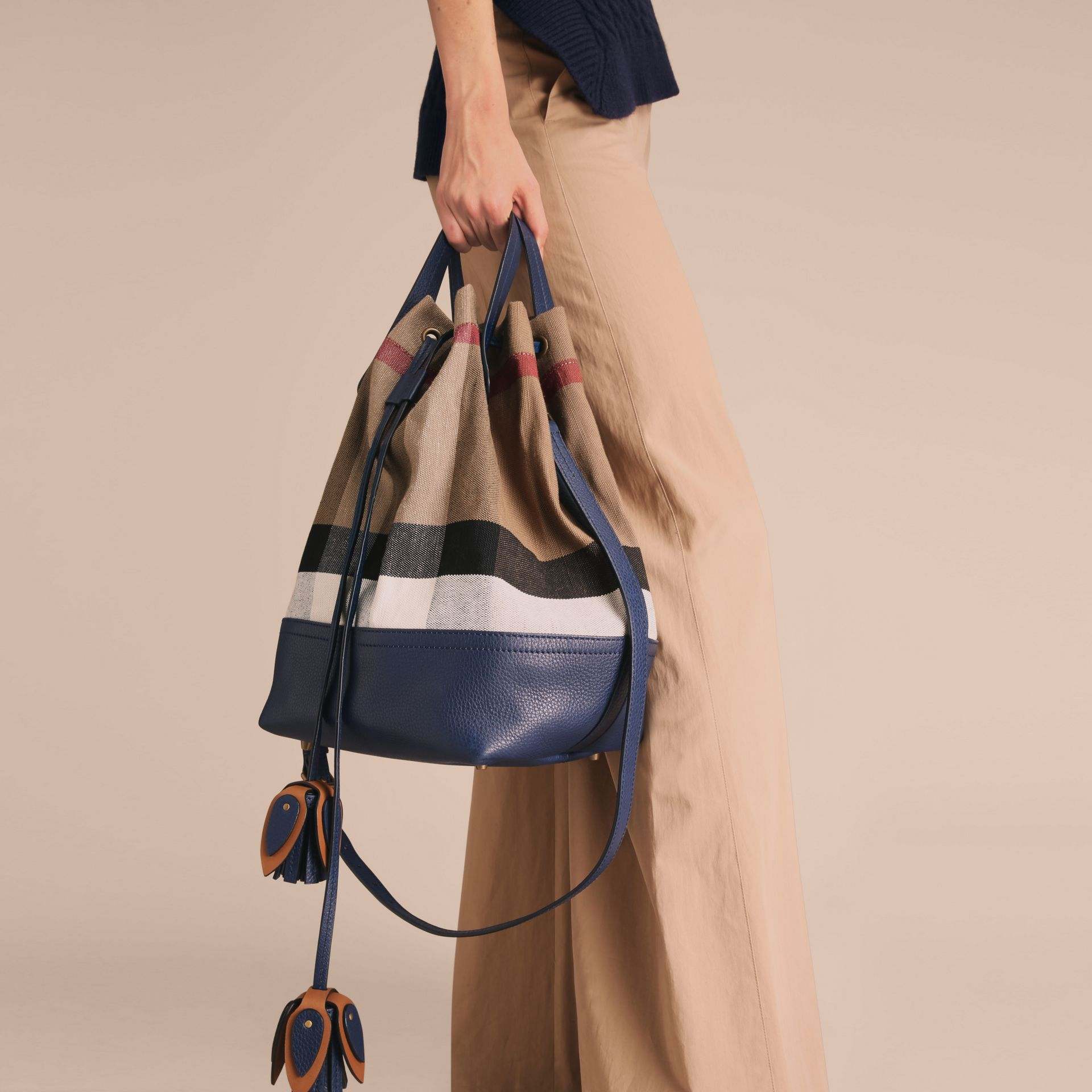 Medium Canvas Check and Leather Bucket Bag in Brilliant Navy - Women | Burberry - gallery image 3
