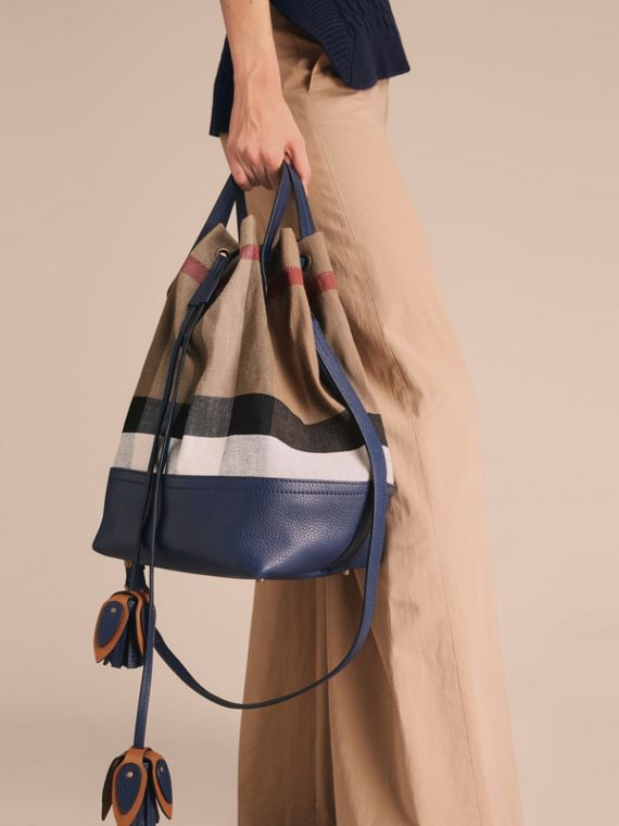 Medium Canvas Check and Leather Bucket Bag in Brilliant Navy - Women | Burberry - cell image 2