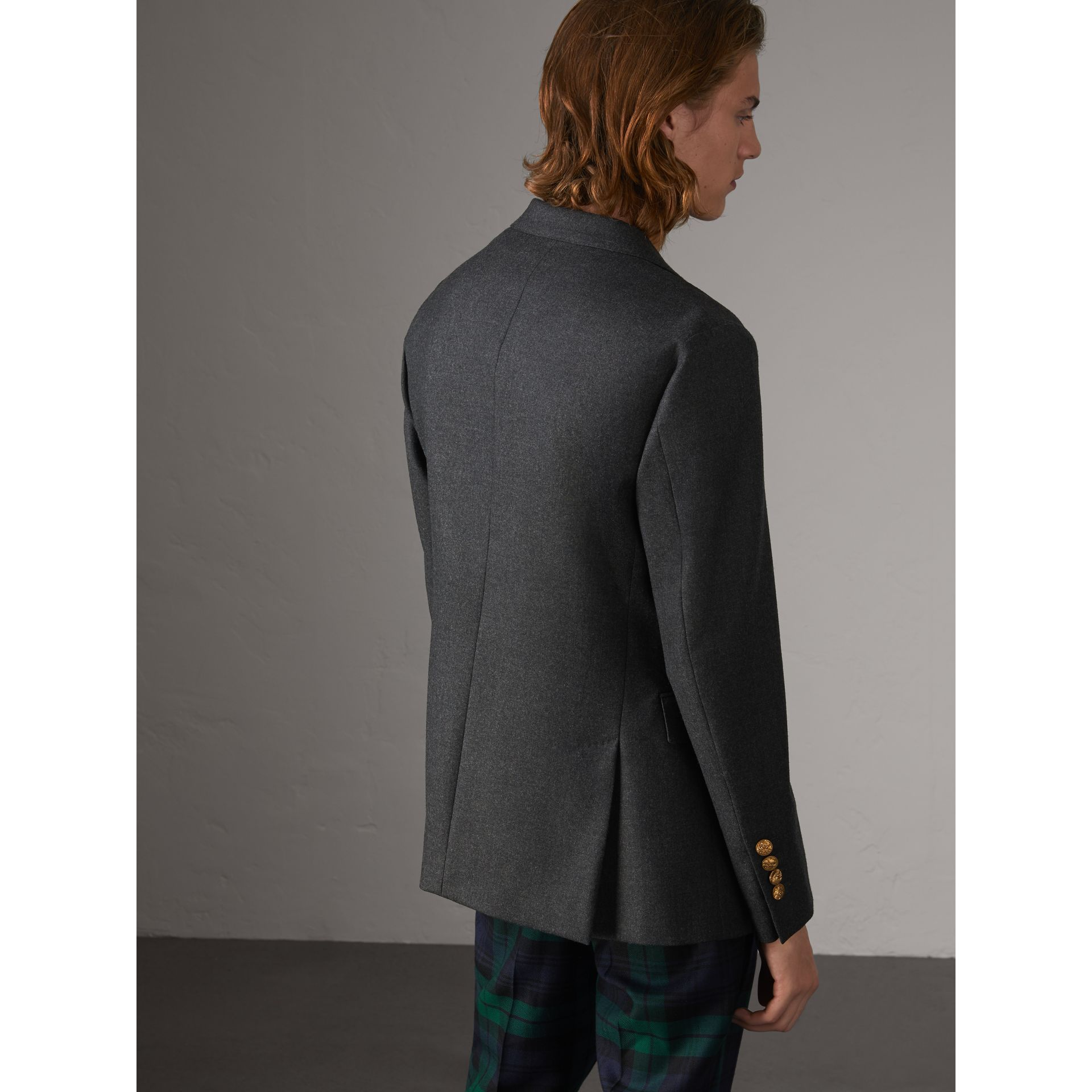 Bird Button Wool Tailored Jacket in Dark Grey Melange - Men | Burberry - gallery image 3