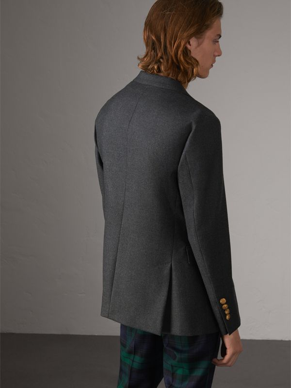 Bird Button Wool Tailored Jacket in Dark Grey Melange - Men | Burberry United Kingdom - cell image 2