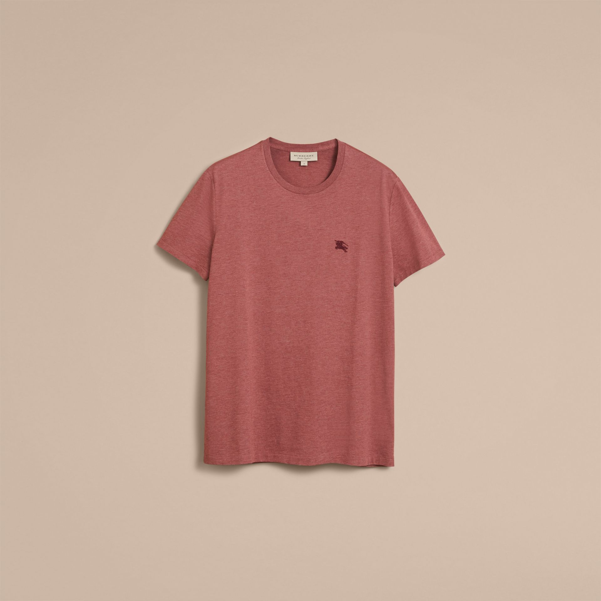 Cotton Jersey T-shirt in Russet Melange - Men | Burberry - gallery image 4