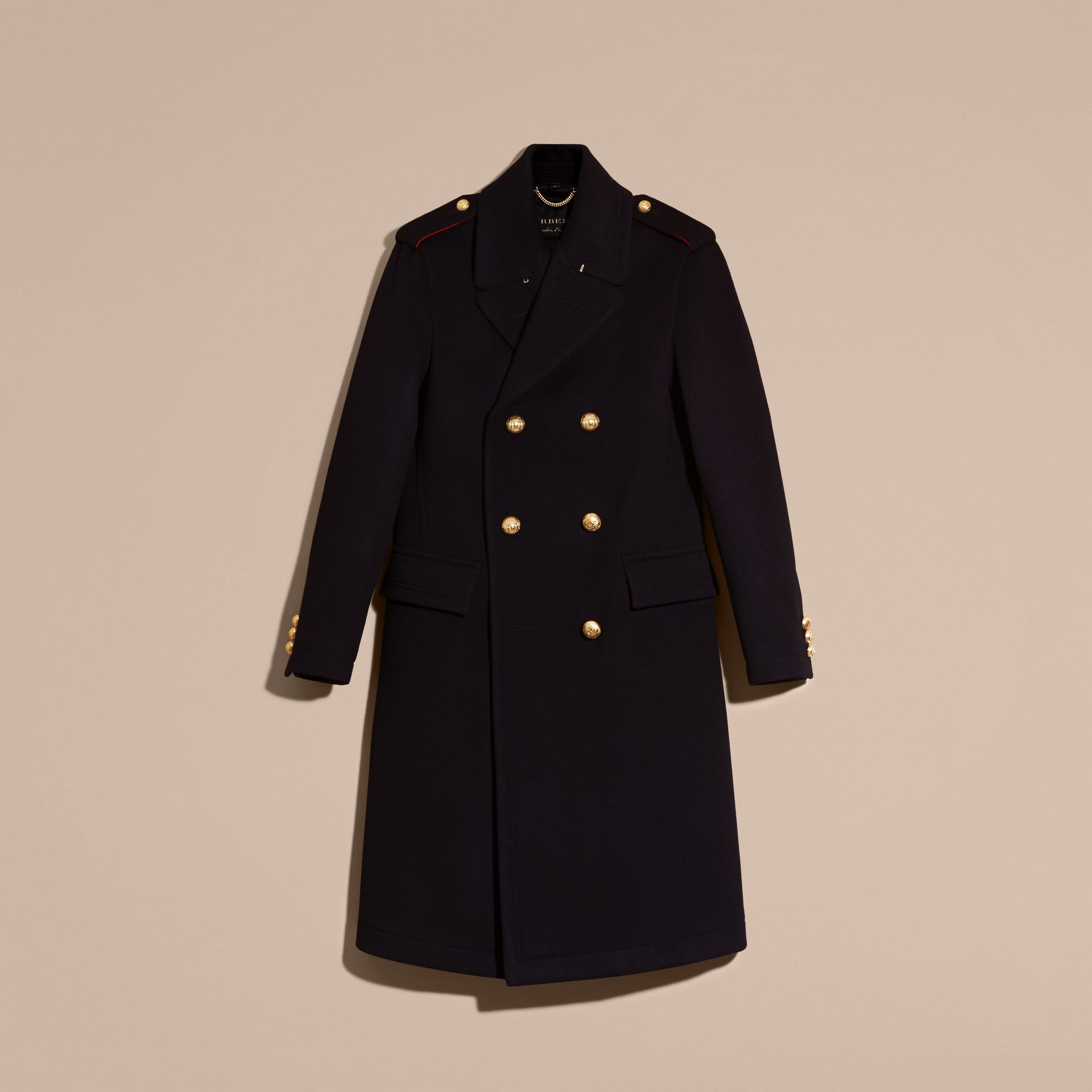 Navy Technical Wool Military Overcoat - gallery image 4