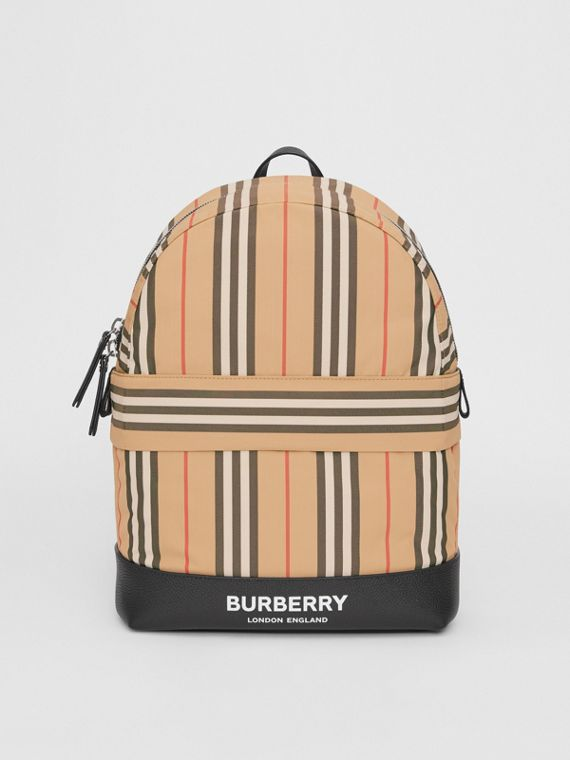 Icon Stripe Nylon Backpack in Archive Beige