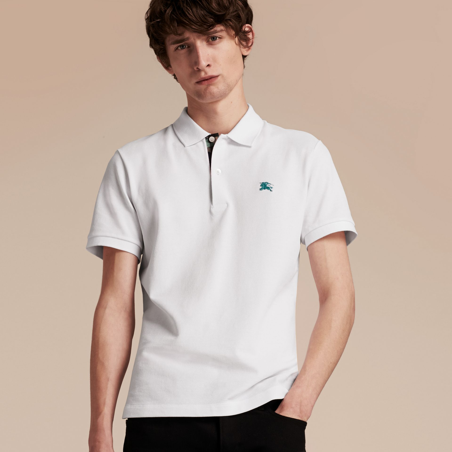 Printed Check Placket Cotton Piqué Polo Shirt in White - gallery image 6
