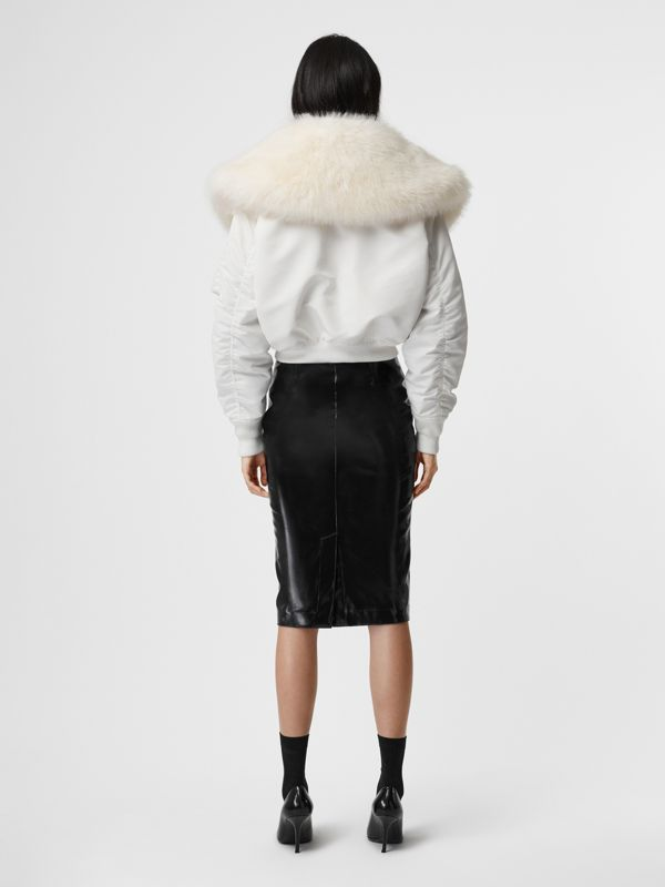 Faux Fur Collar Nylon Bomber Jacket in White - Women | Burberry - cell image 3