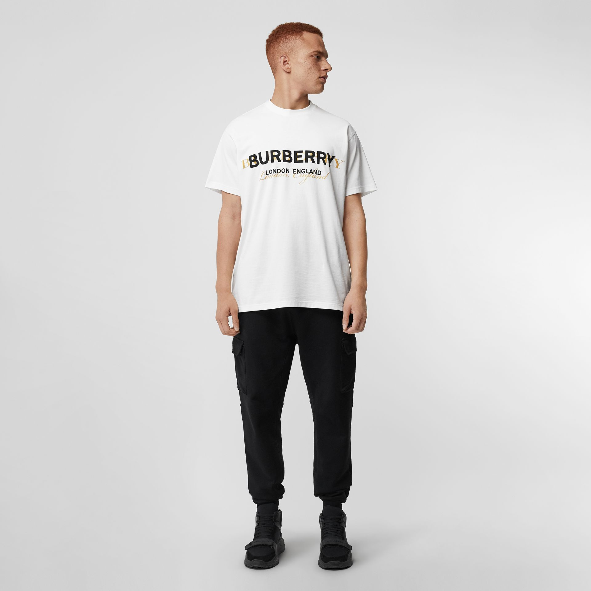 Double Logo Print Cotton T-shirt in White - Men | Burberry - gallery image 0