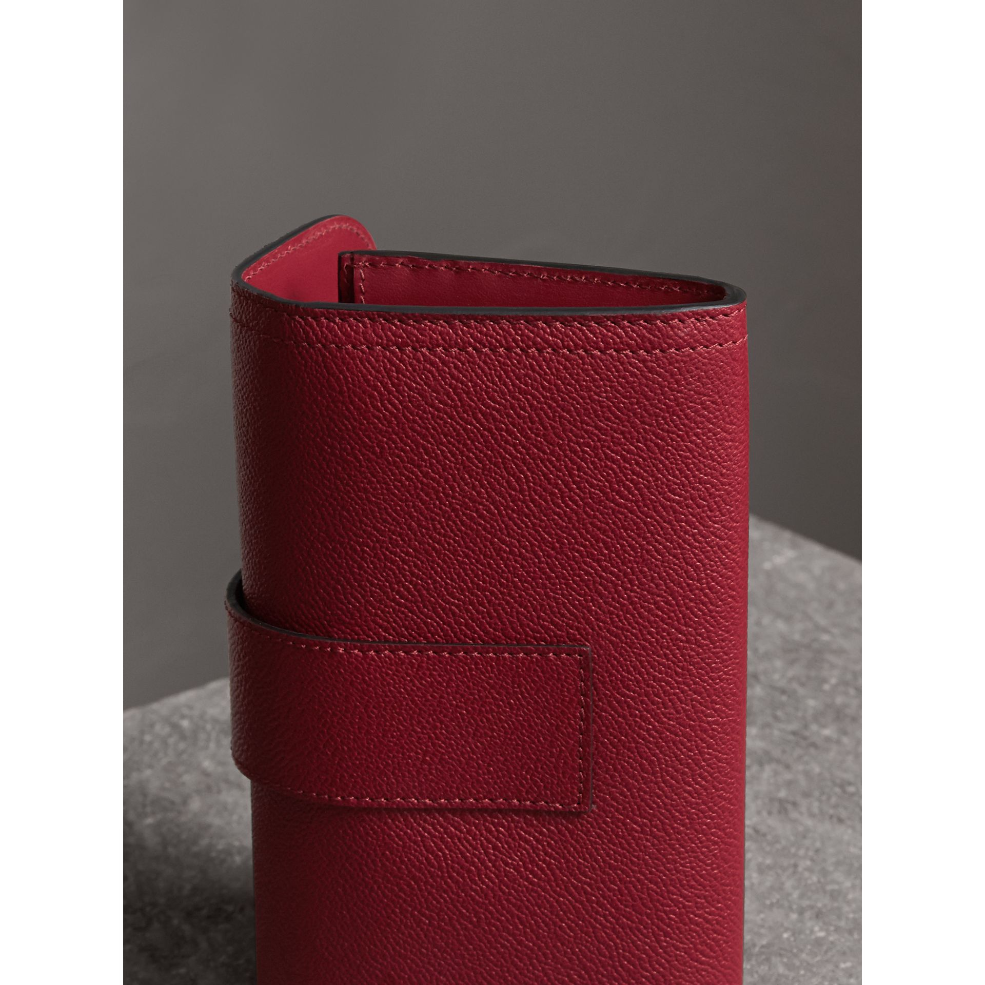 Textured Leather Continental Wallet in Parade Red - Women | Burberry Canada - gallery image 3