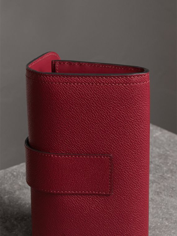 Textured Leather Continental Wallet in Parade Red - Women | Burberry Canada - cell image 3