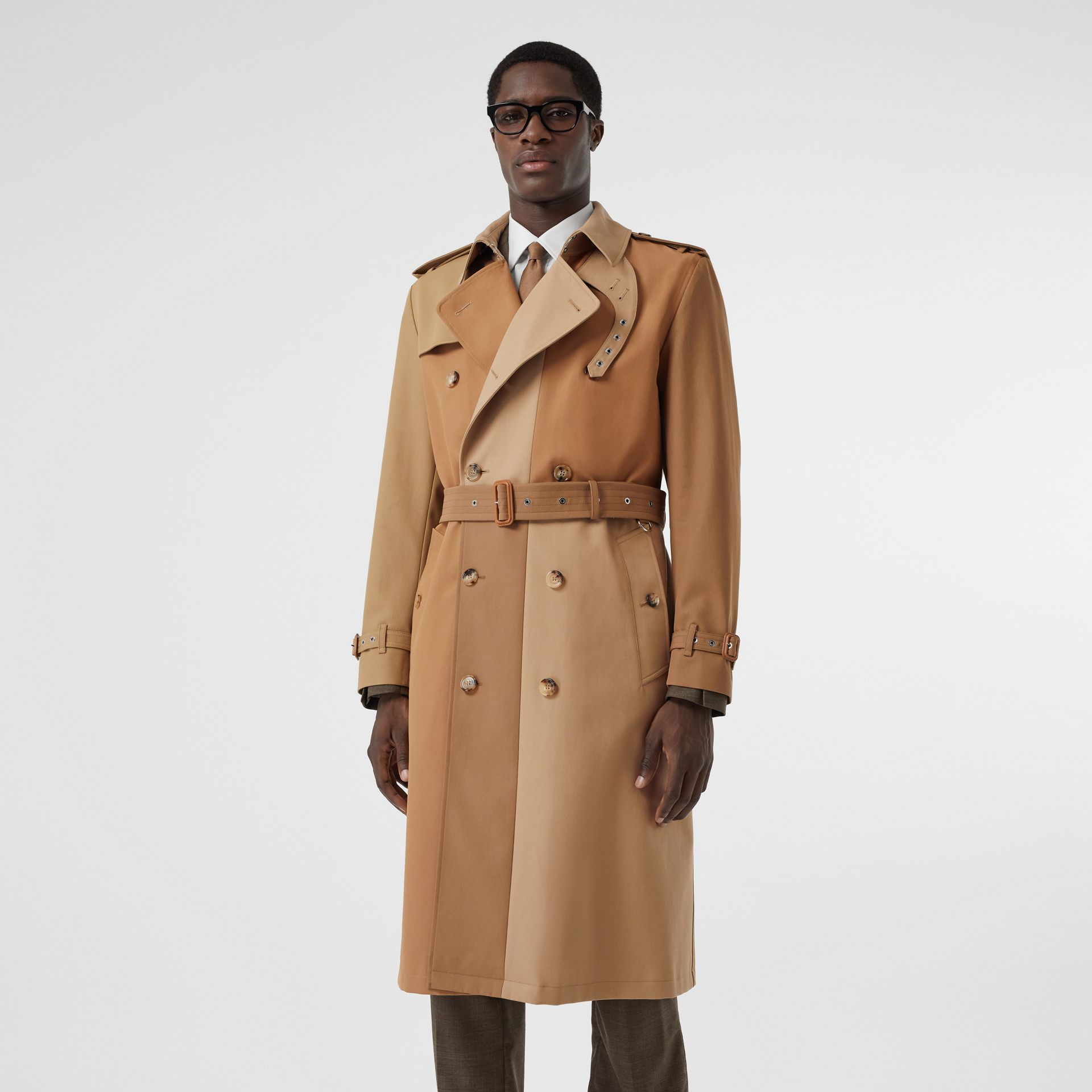 Panelled Cotton Trench Coat in Warm Camel - Men | Burberry Australia - gallery image 6