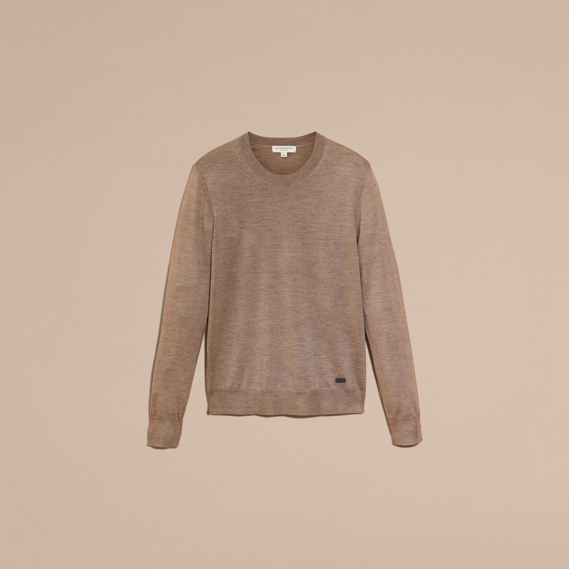 Taupe grey melange Crew Neck Merino Wool Sweater Taupe Grey Melange - gallery image 4