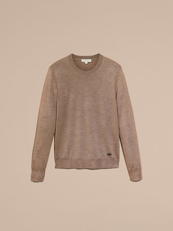 Taupe grey melange Crew Neck Merino Wool Sweater Taupe Grey Melange - cell image 3