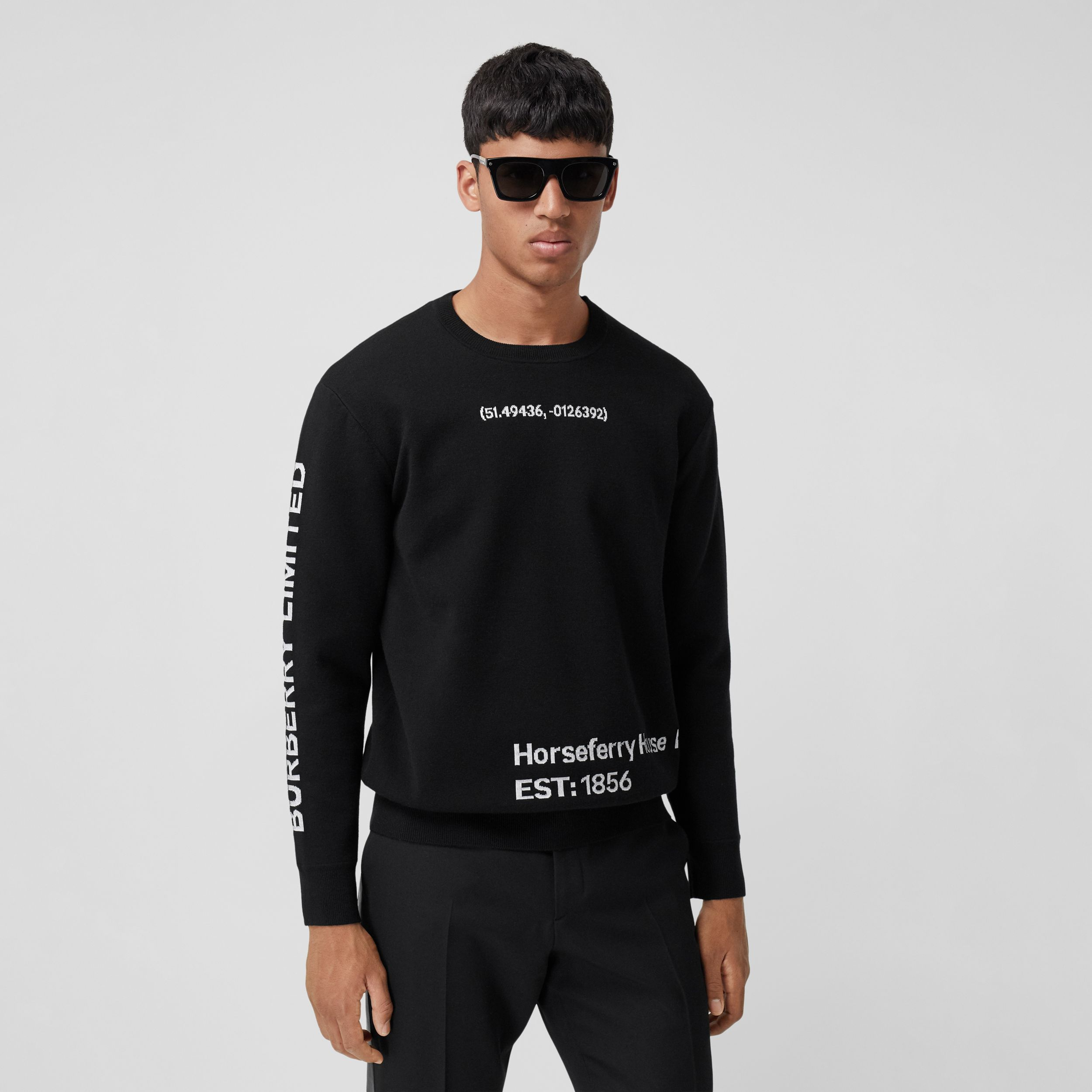 Location Wool Blend Jacquard Sweater in Black - Men | Burberry Singapore - 1