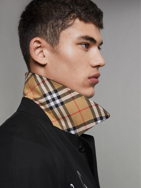 Sketch Print Car Coat in Black - Men | Burberry - cell image 1