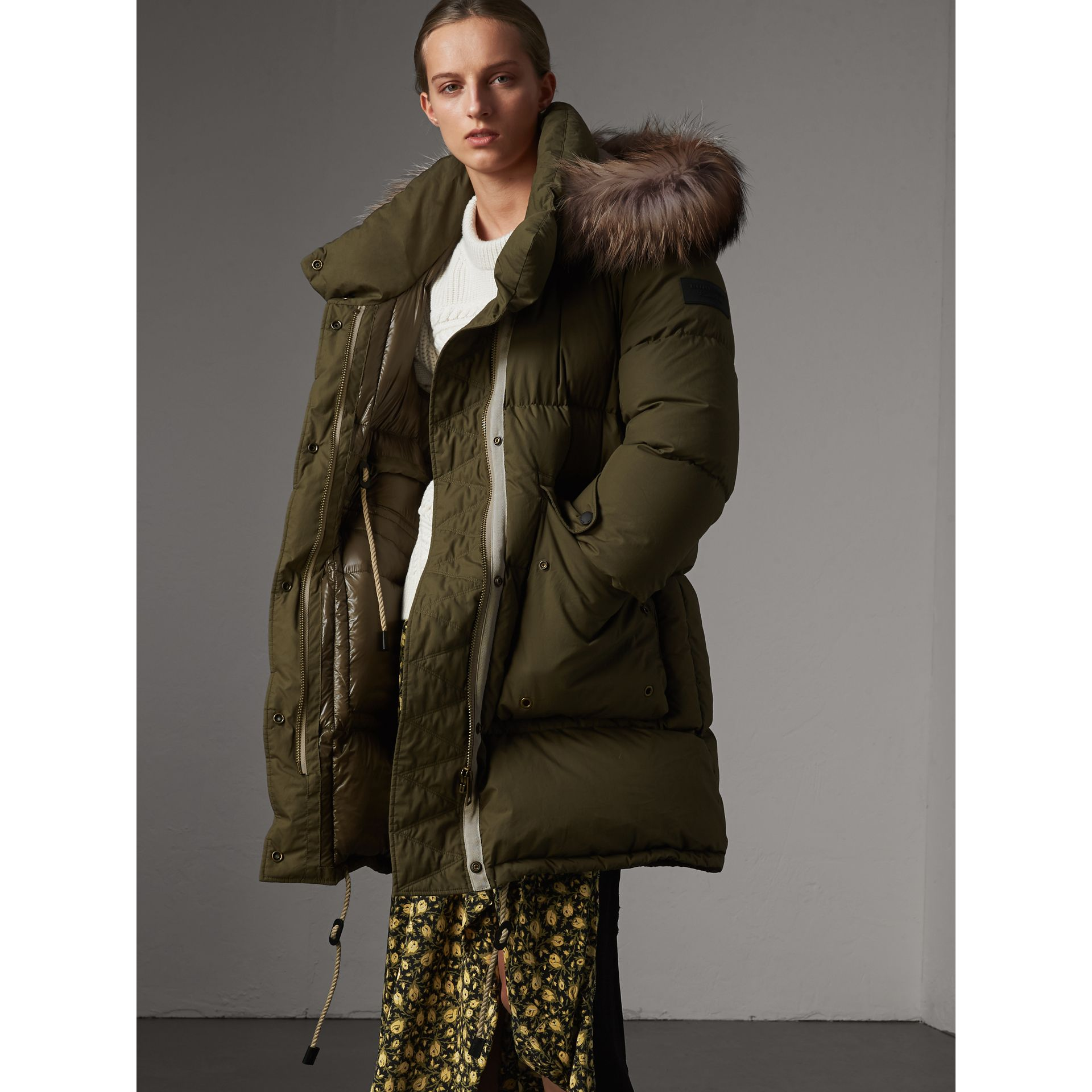 Detachable Fur Trim and Shearling Hood Puffer Coat in Olive Green - Women | Burberry Australia - gallery image 6
