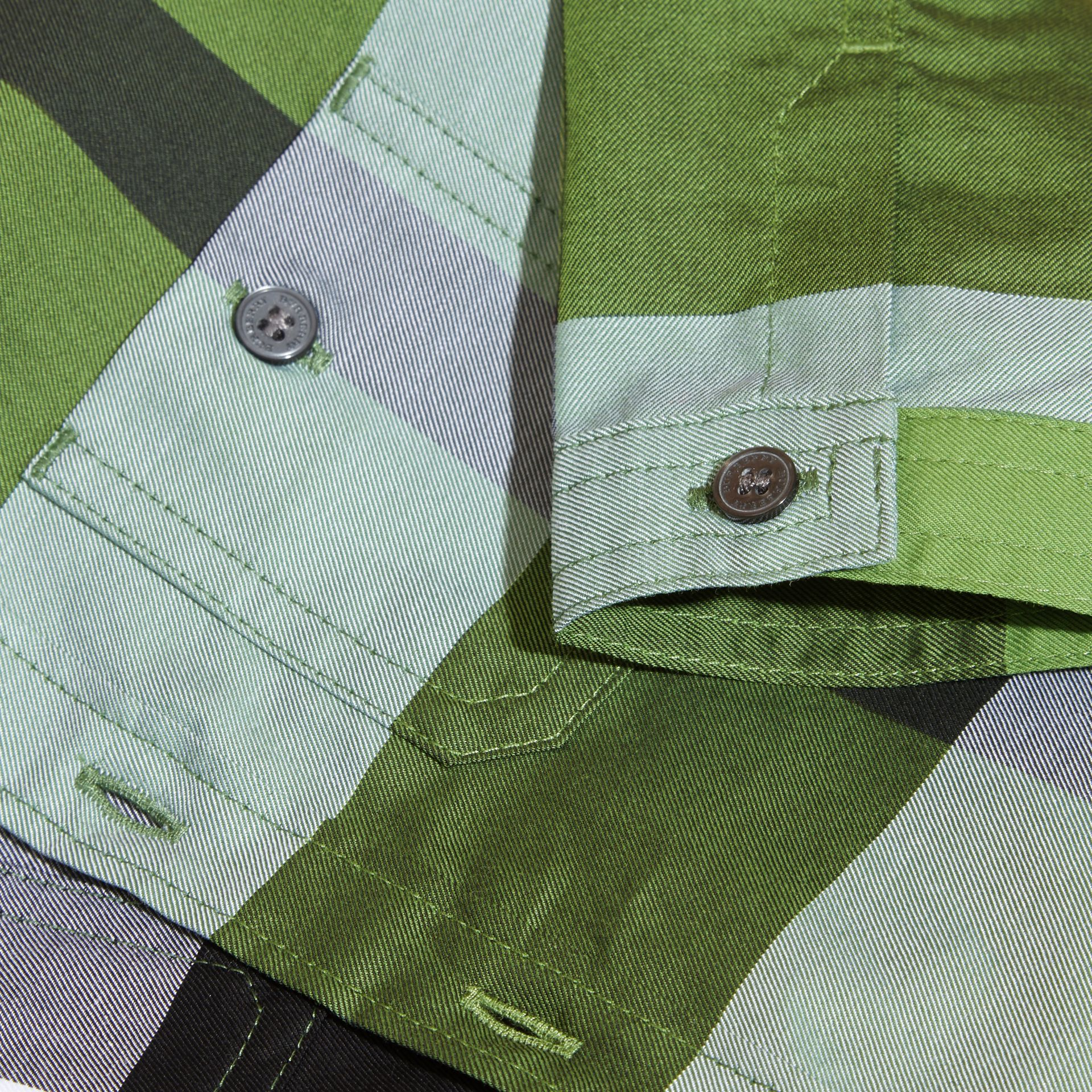 Verde felce brillante Camicia in cotone con motivo check Verde Felce Brillante - immagine della galleria 2