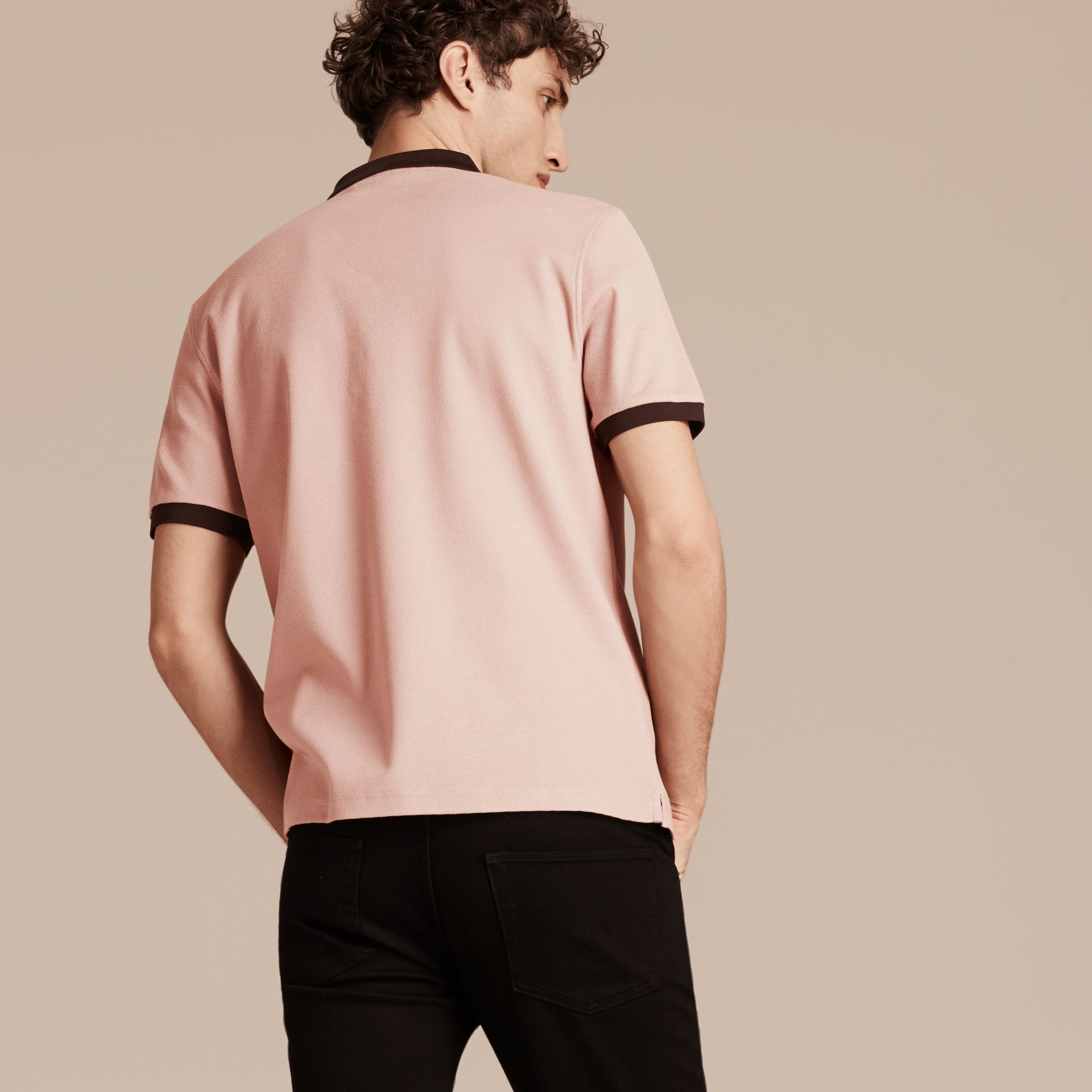 Slate pink/burgundy red Mercerised Cotton Piqué Polo Shirt Slate Pink/burgundy Red - gallery image 2