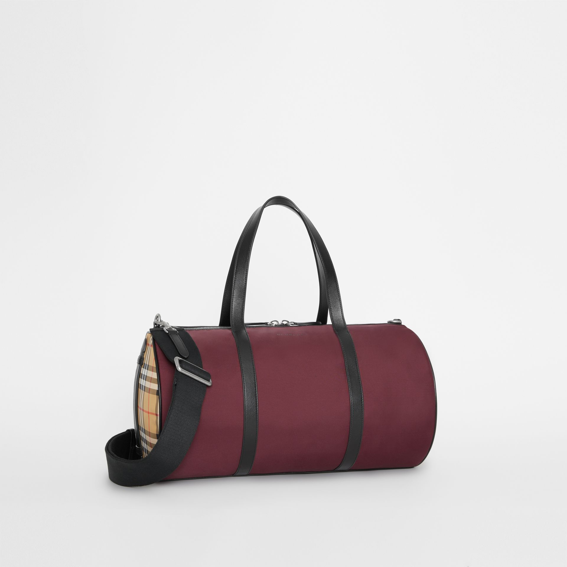 Medium Nylon and Vintage Check Barrel Bag in Oxblood - Men | Burberry - gallery image 6