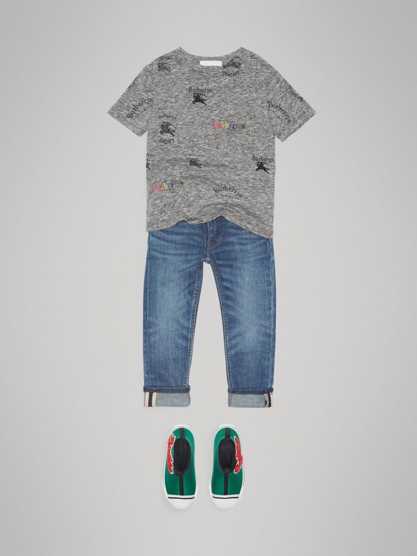Archive Logo Print Jersey T-shirt in Grey Melange - Boy | Burberry - cell image 2
