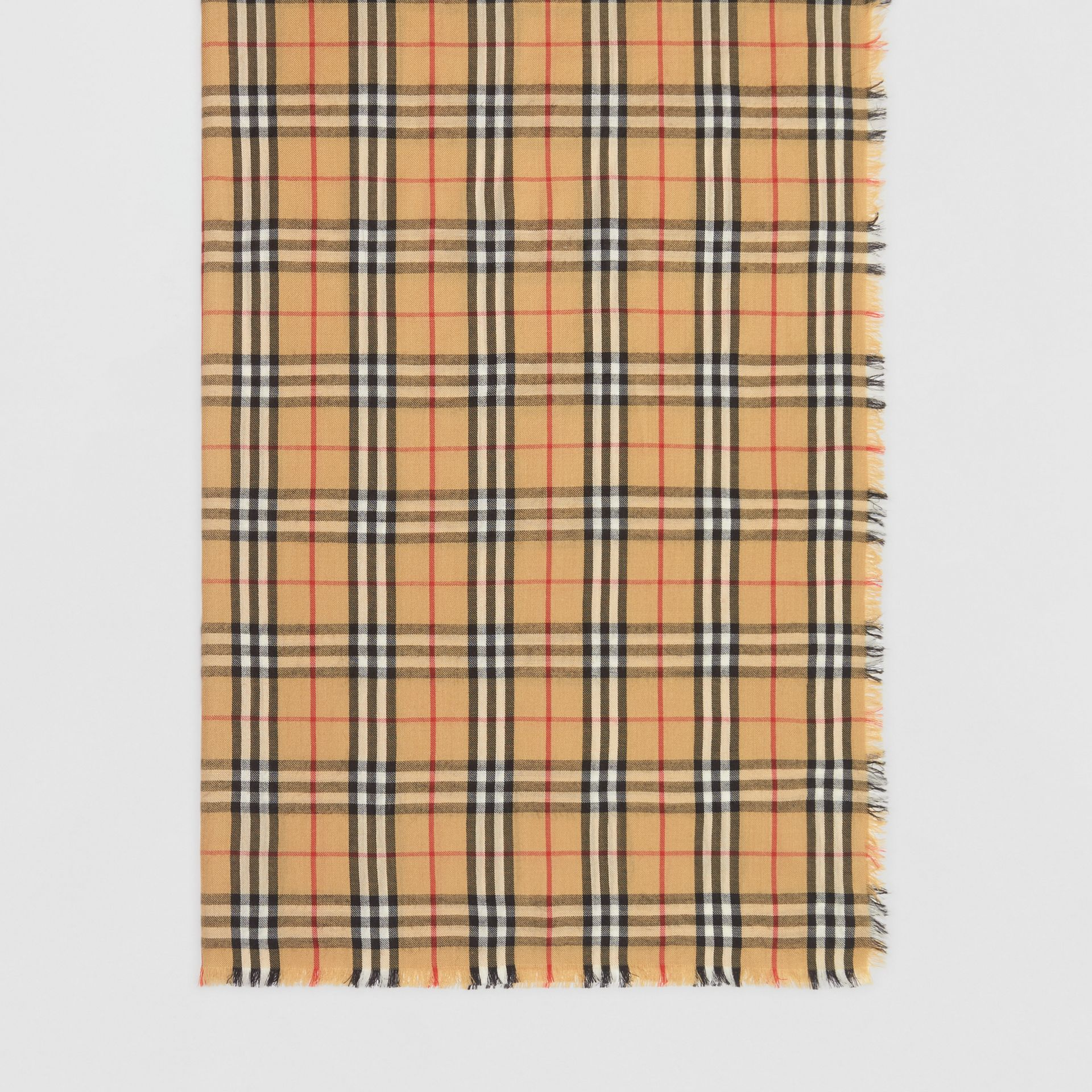 Vintage Check Lightweight Cashmere Scarf in Antique Yellow | Burberry - gallery image 3