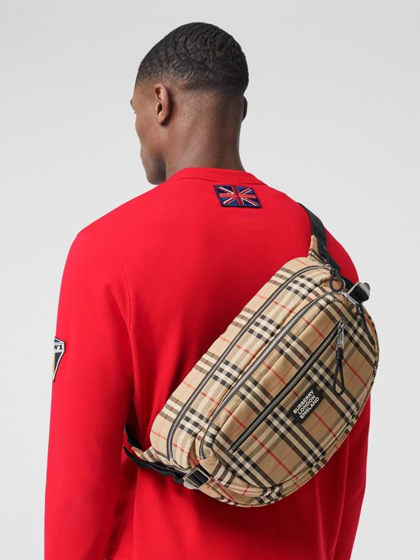 Large Vintage Check Cotton Cannon Bum Bag in Archive Beige | Burberry - cell image 2