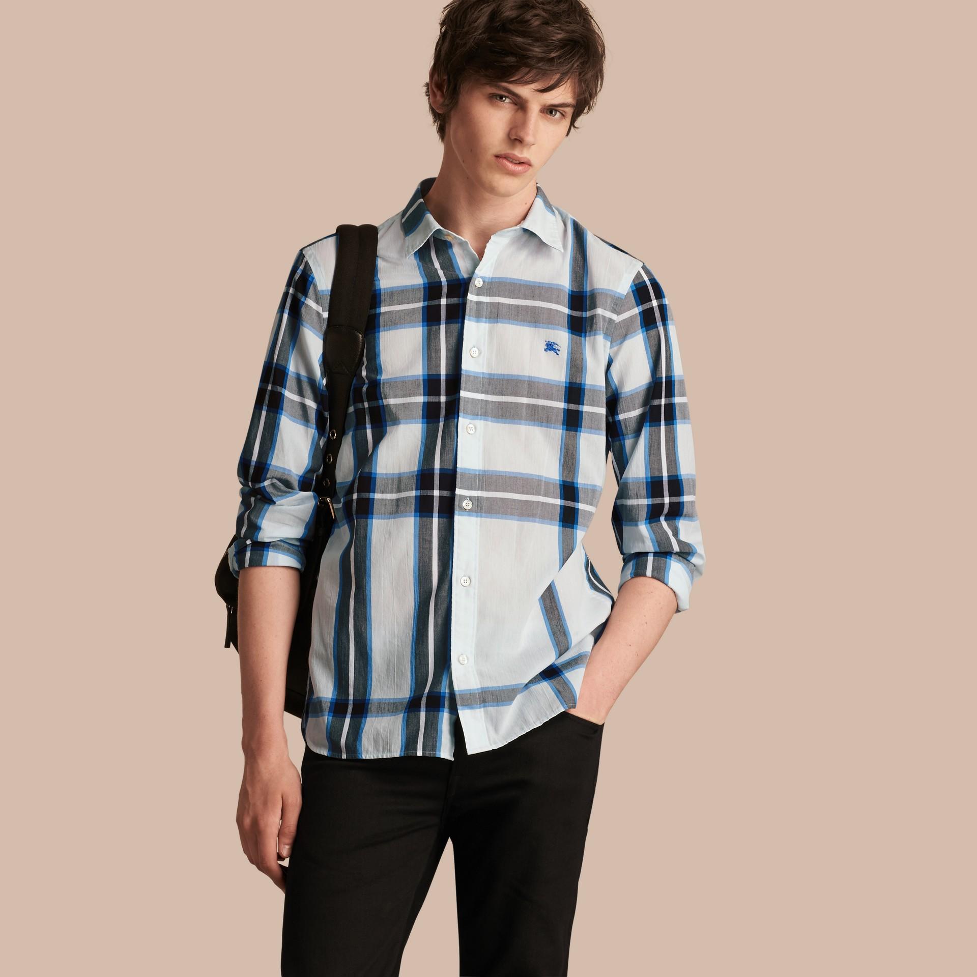 Check Cotton Shirt Light Blue - gallery image 1