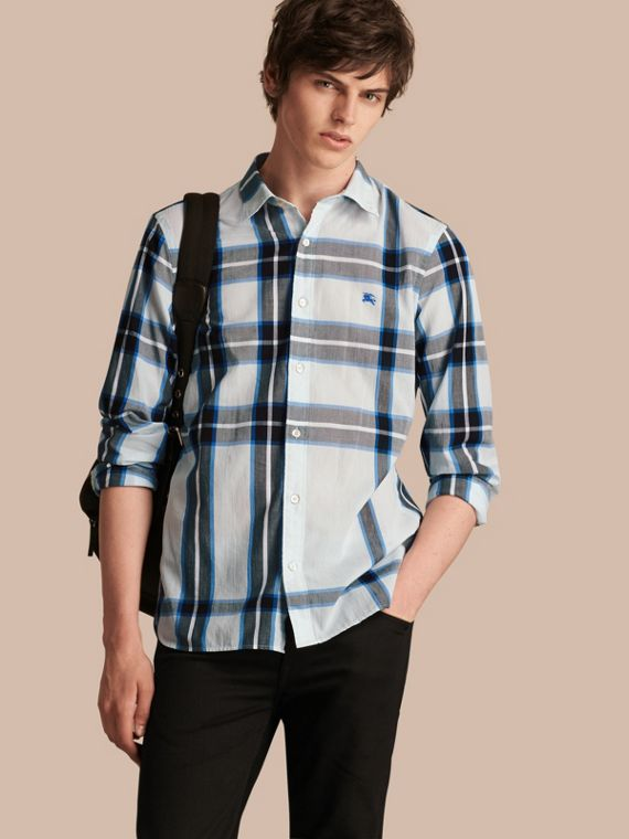 Check Cotton Shirt Light Blue