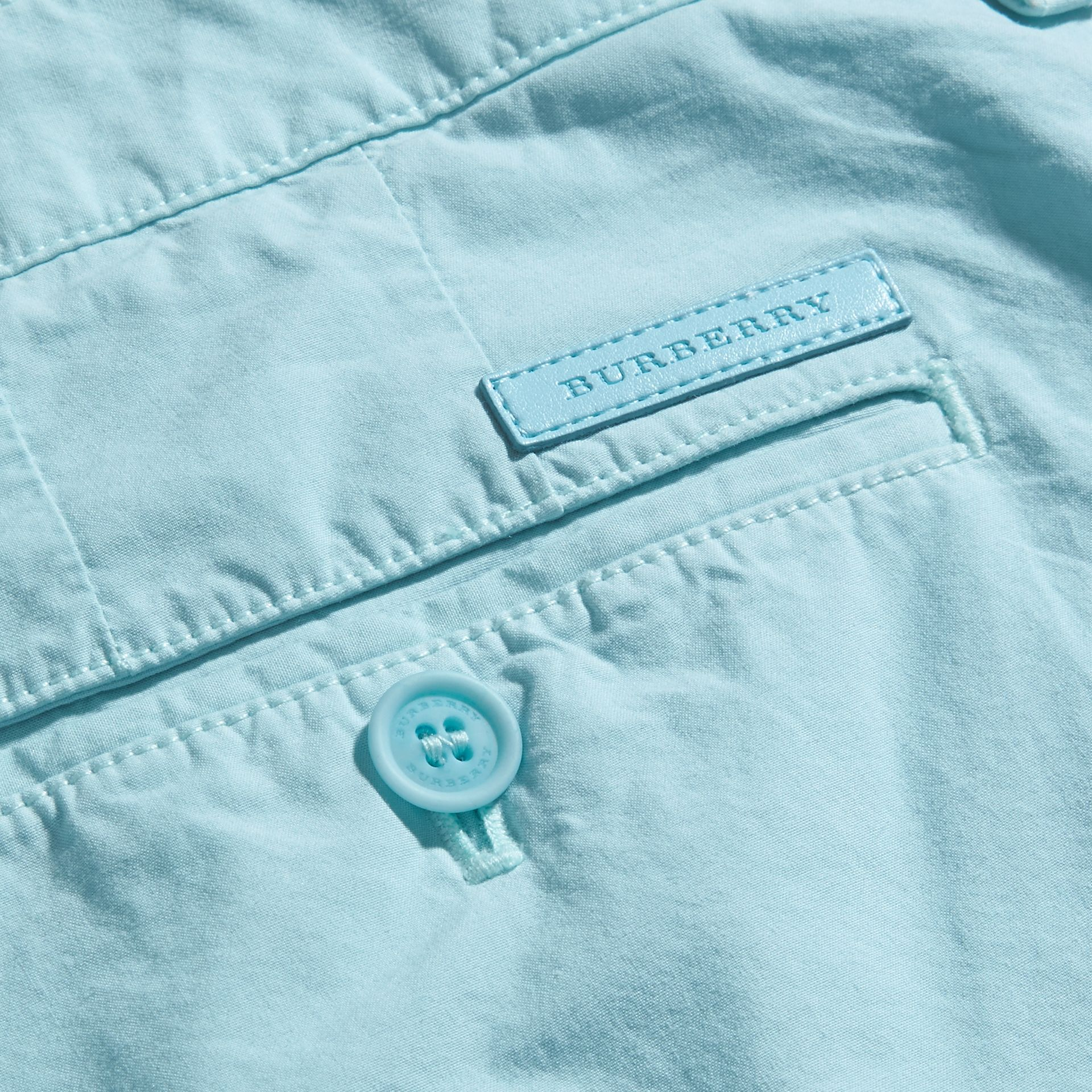 Pearl blue Cotton Poplin Chino Shorts Pearl Blue - gallery image 2