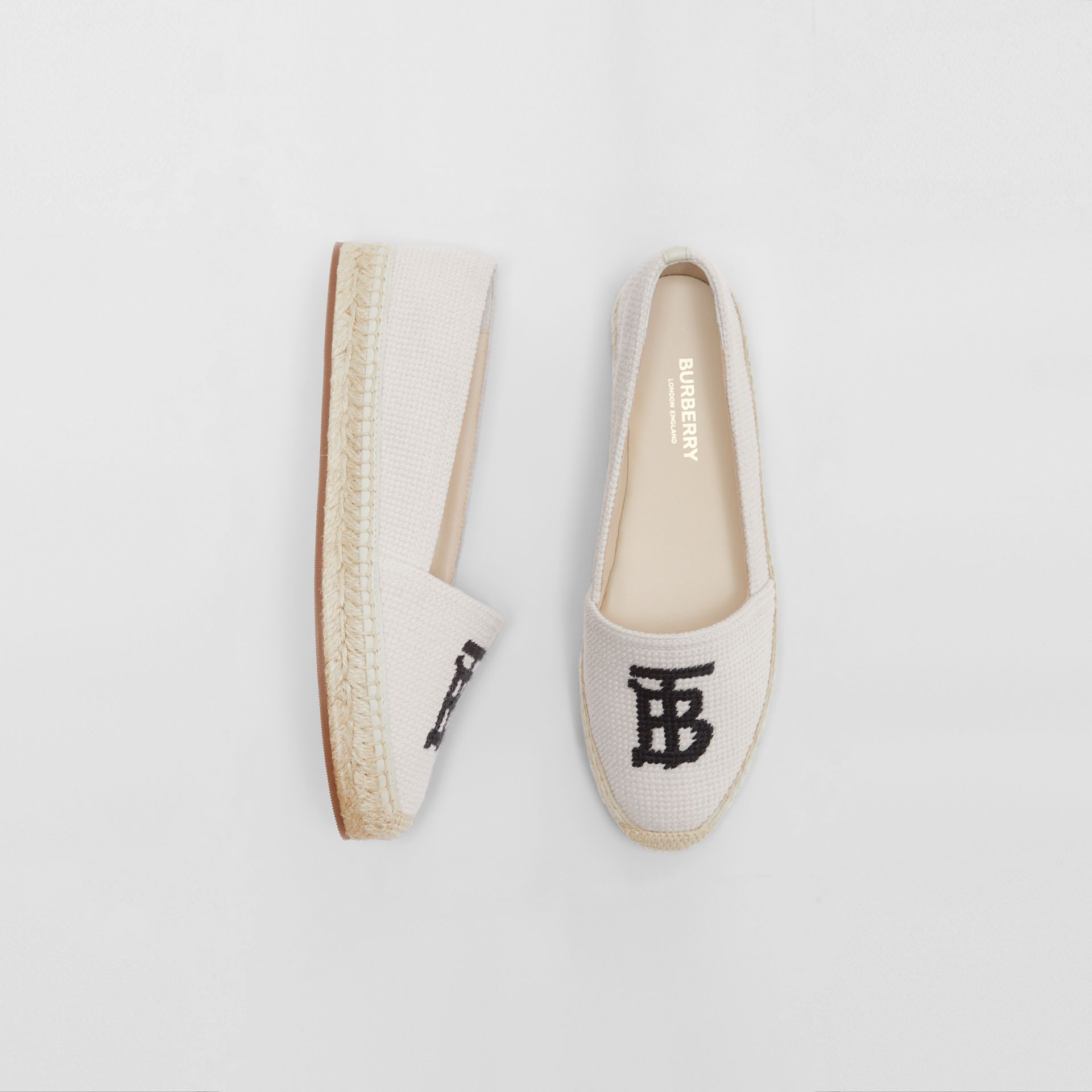 Monogram Motif Cotton and Leather Espadrilles in Ecru/black | Burberry United Kingdom - gallery image 0