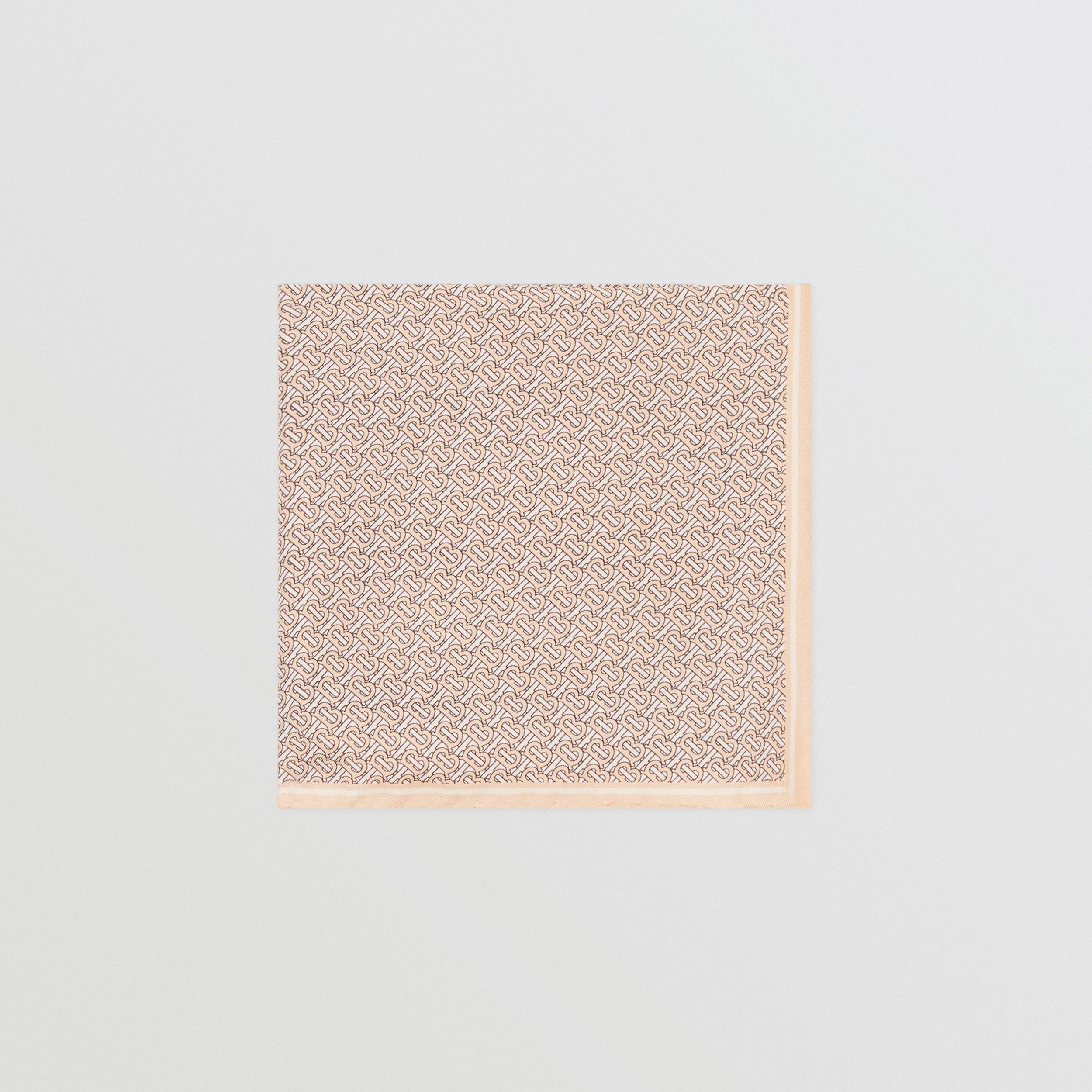 Monogram Print Silk Pocket Square in Blush Pink - Men | Burberry - 1