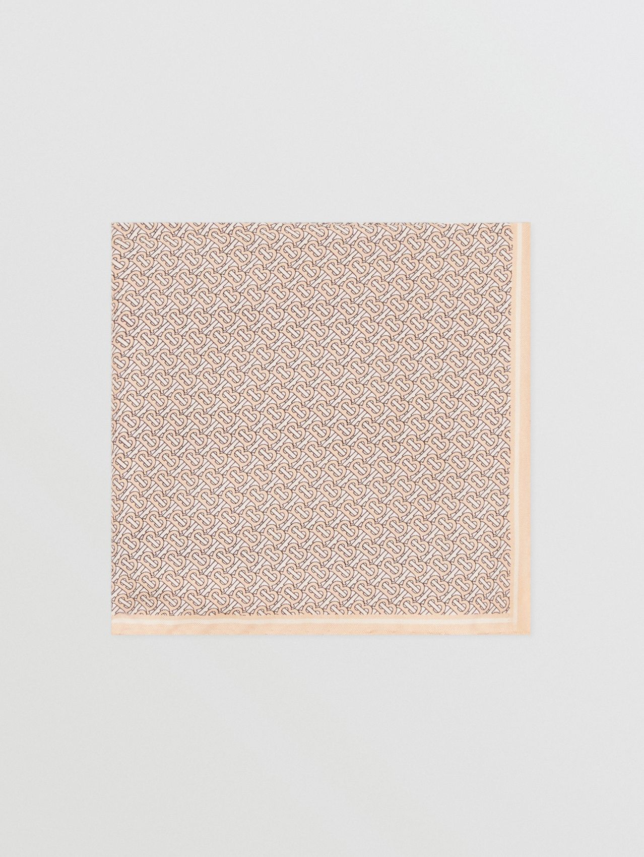 Monogram Print Silk Pocket Square in Blush Pink