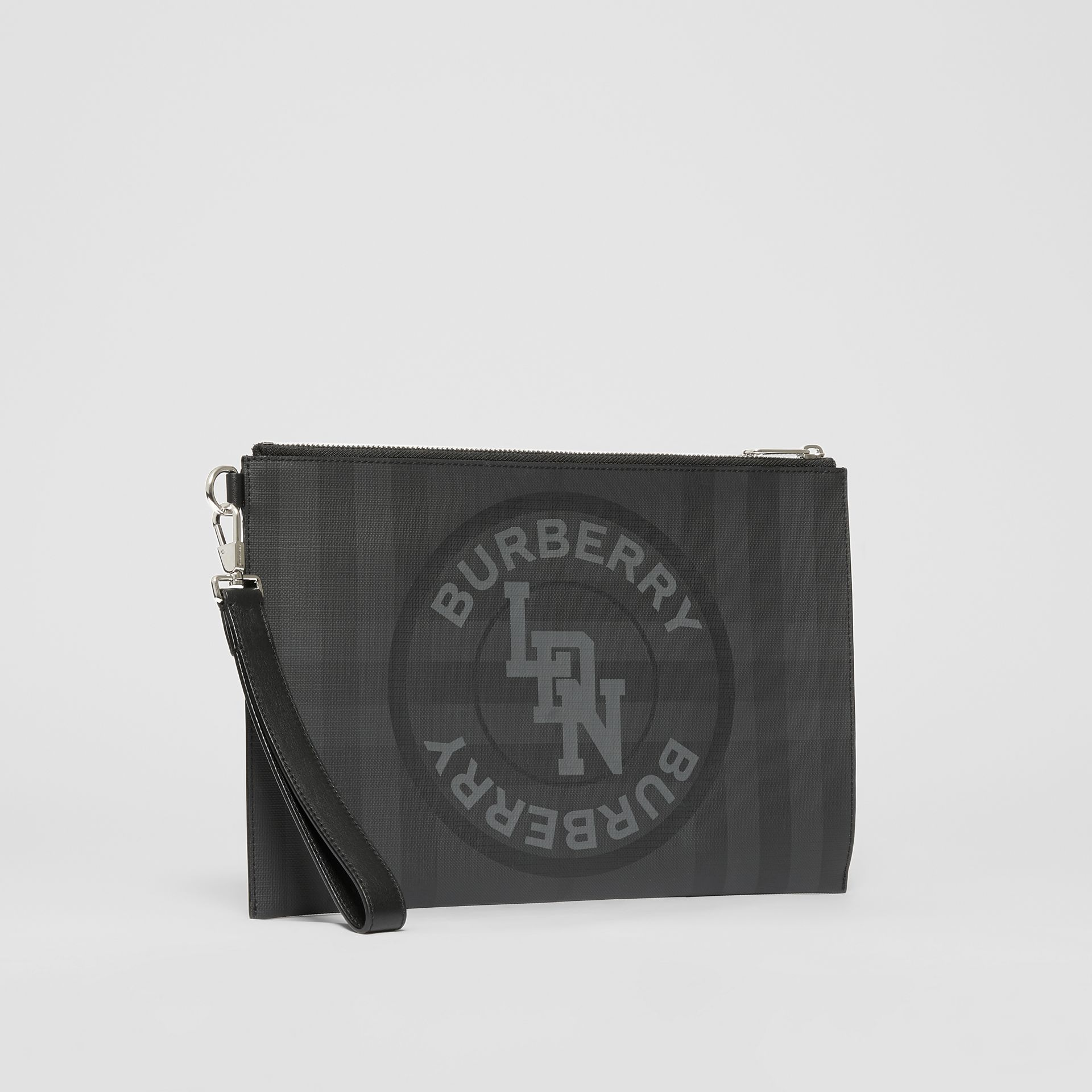 Logo Graphic London Check Zip Pouch in Dark Charcoal - Men | Burberry United States - gallery image 8