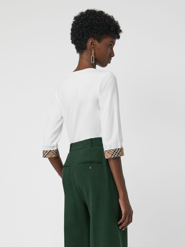 Check Detail Stretch Cotton Top in White - Women | Burberry - cell image 2