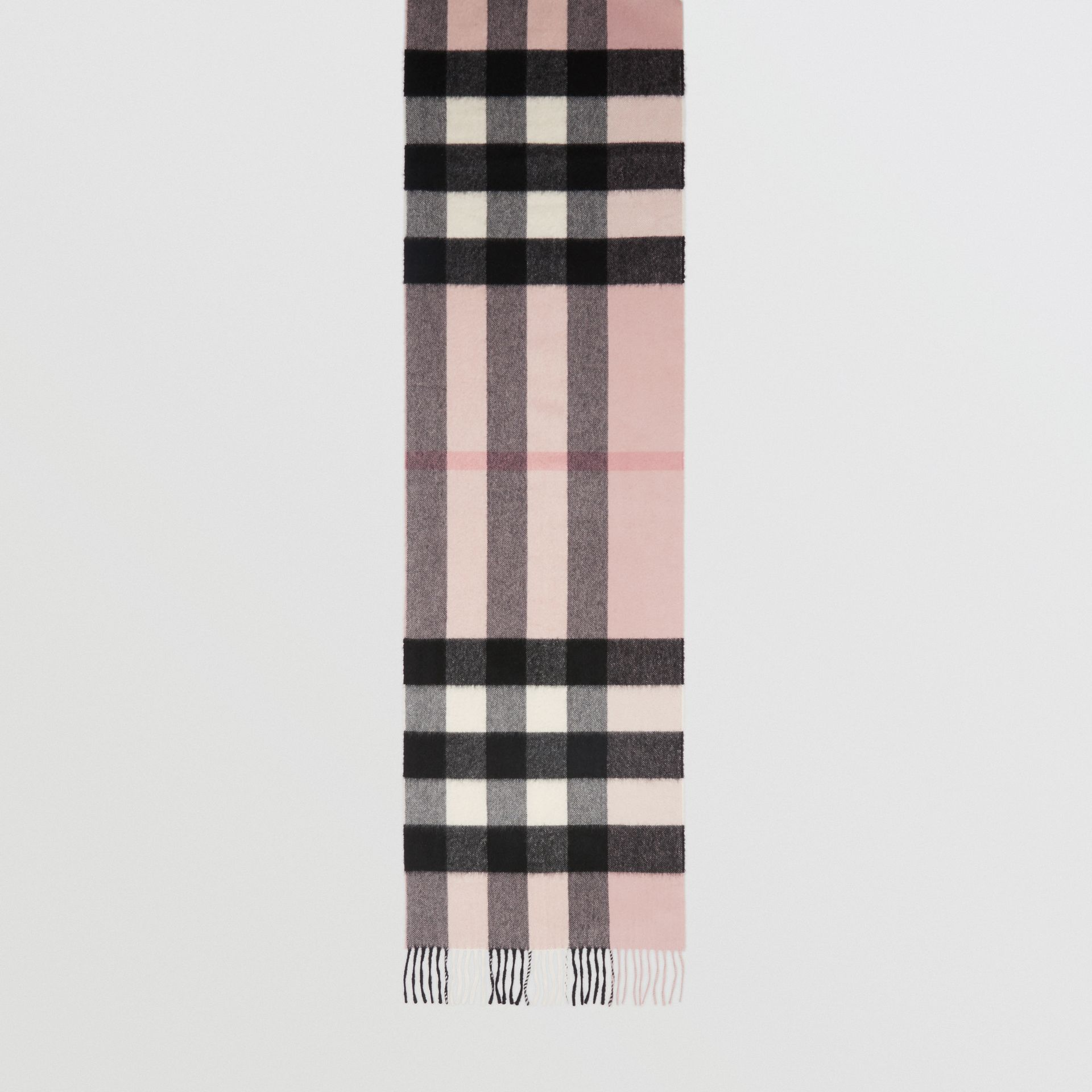 The Large Classic Cashmere Scarf in Check in Ash Rose | Burberry United Kingdom - gallery image 4