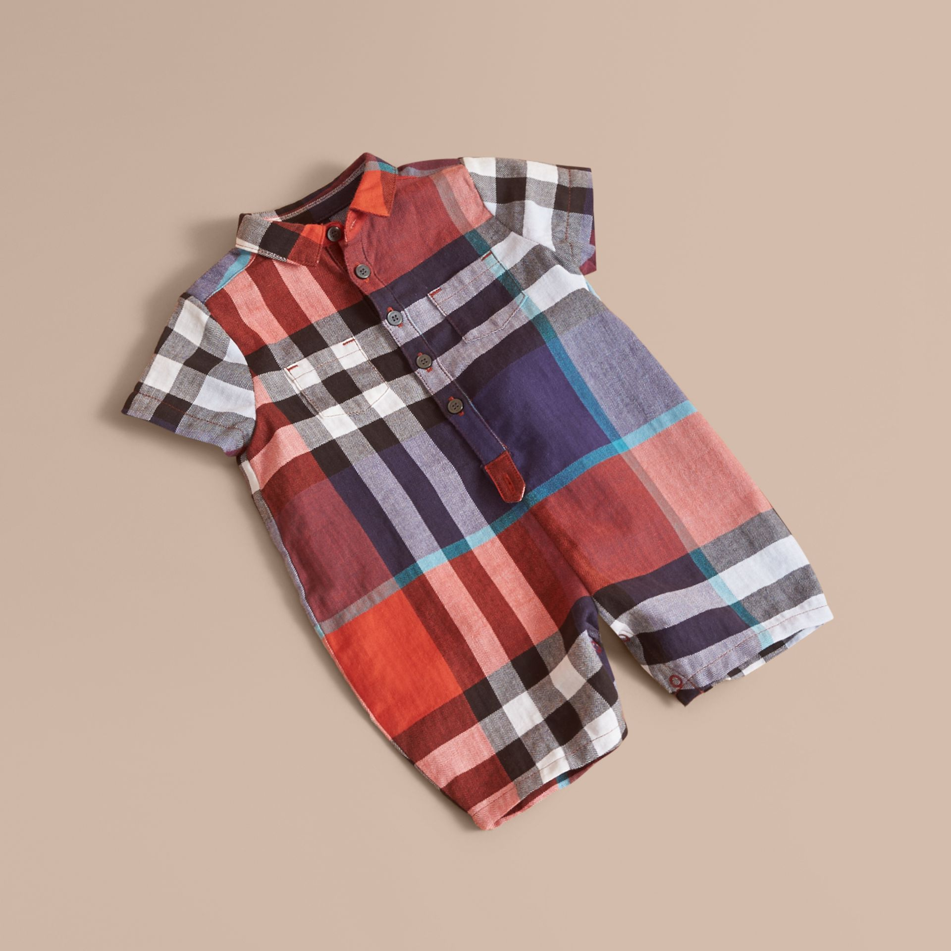 Check Cotton Playsuit in Ornge Red/cornflower Blue | Burberry - gallery image 1
