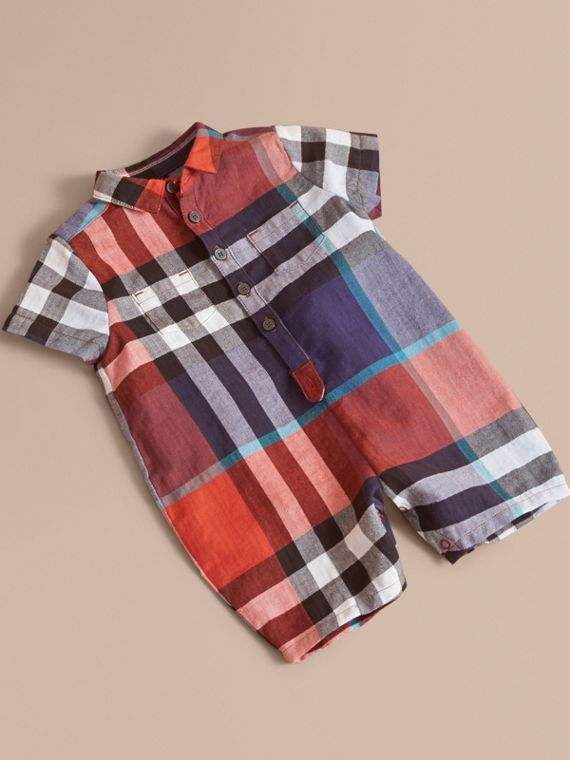 Check Cotton Playsuit | Burberry Singapore
