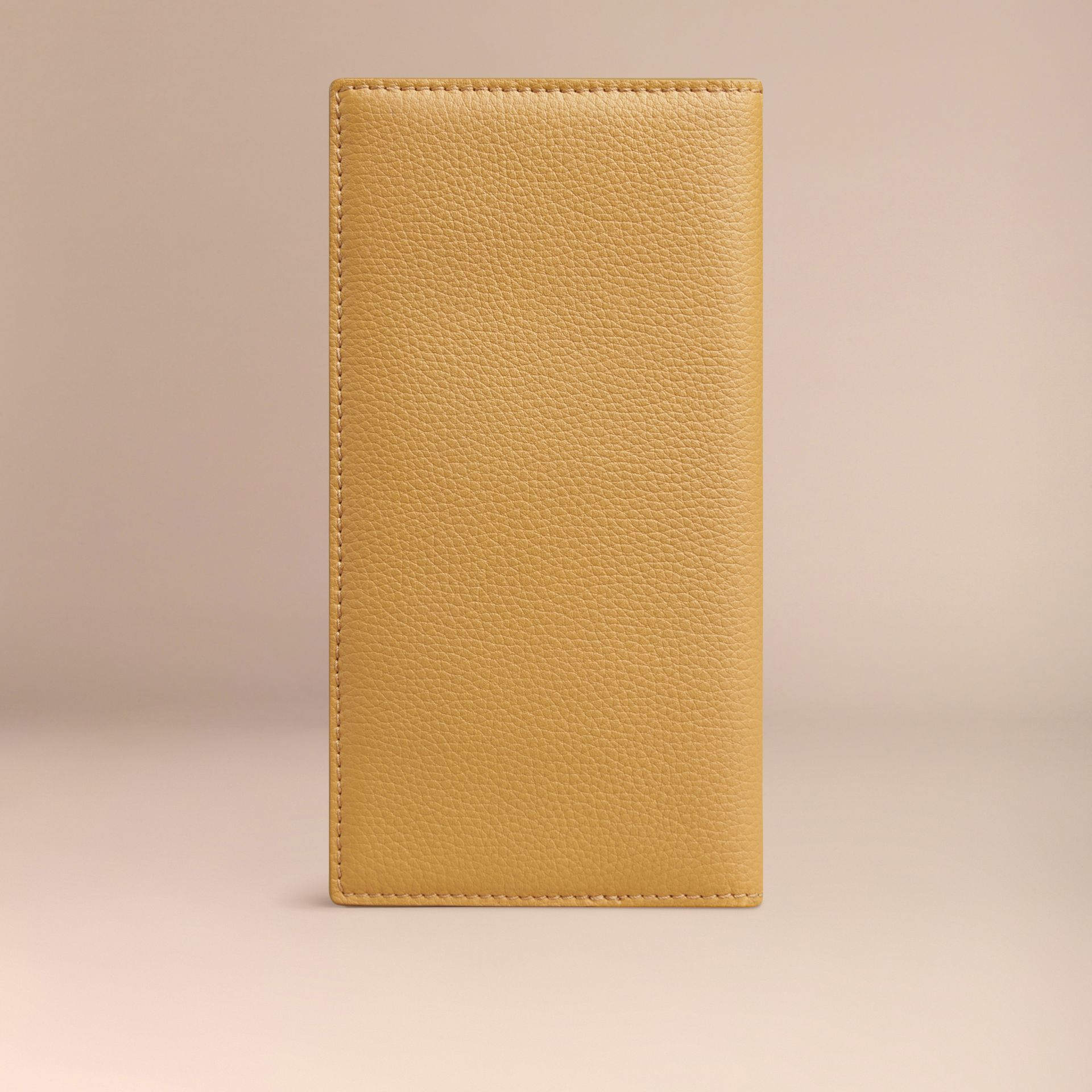 Grainy Leather Travel Card Case in Ochre Yellow | Burberry - gallery image 3