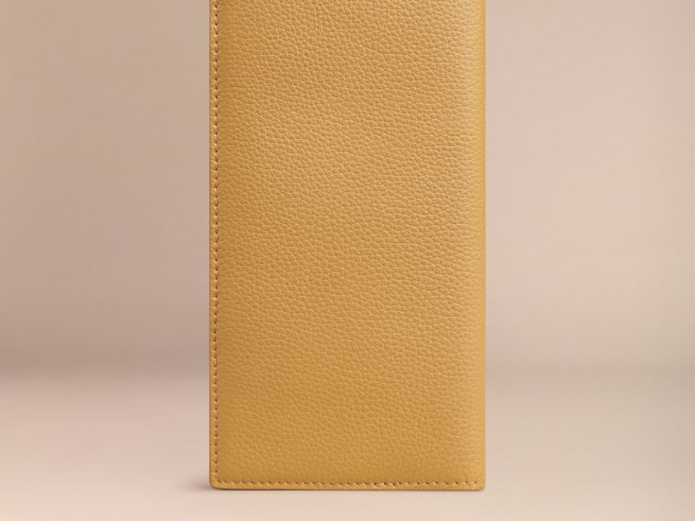 Grainy Leather Travel Card Case in Ochre Yellow | Burberry - cell image 2