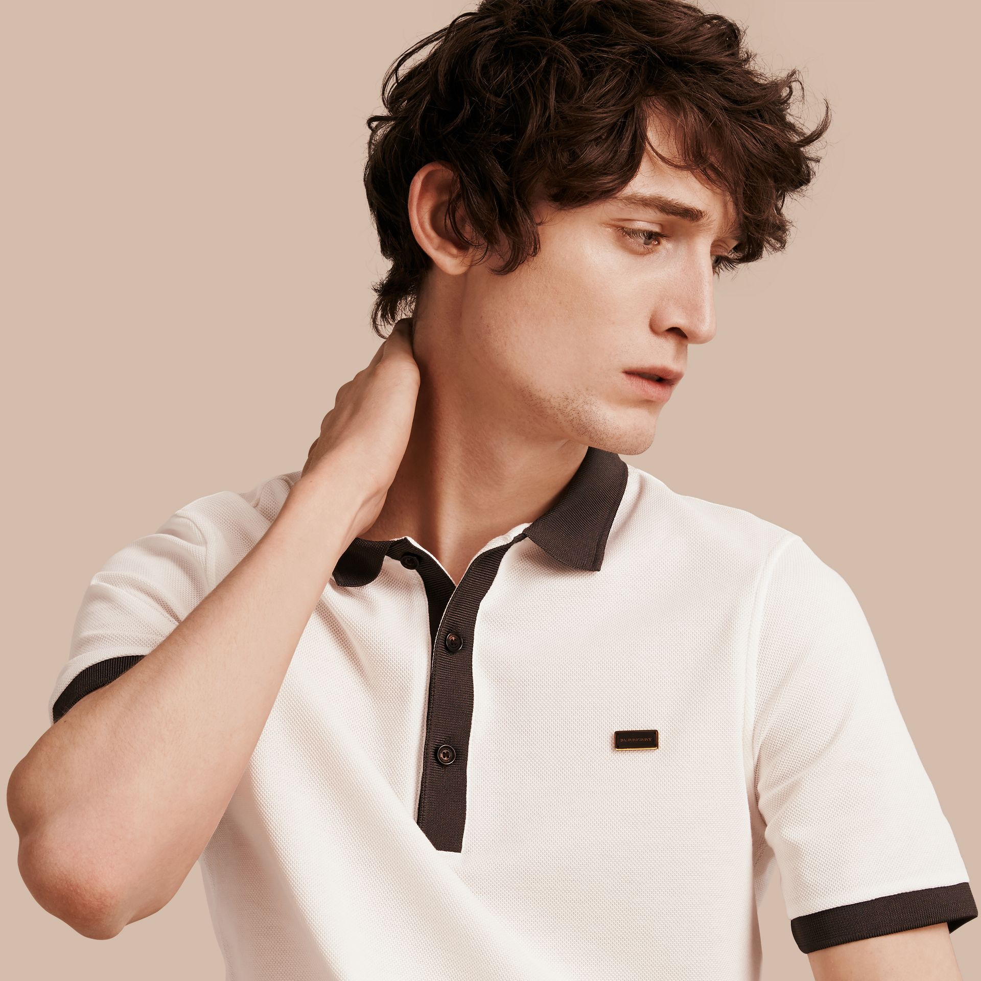 White/charcoal Mercerised Cotton Piqué Polo Shirt White/charcoal - gallery image 1