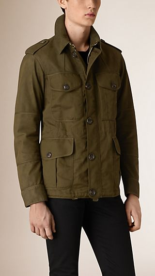 Nubuck and Cotton Linen Field Jacket