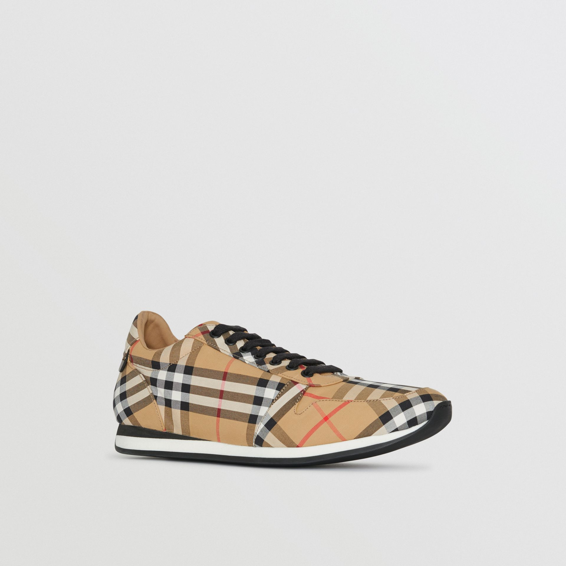 Vintage Check Cotton Trainers in Antique Yellow - Men | Burberry - gallery image 6