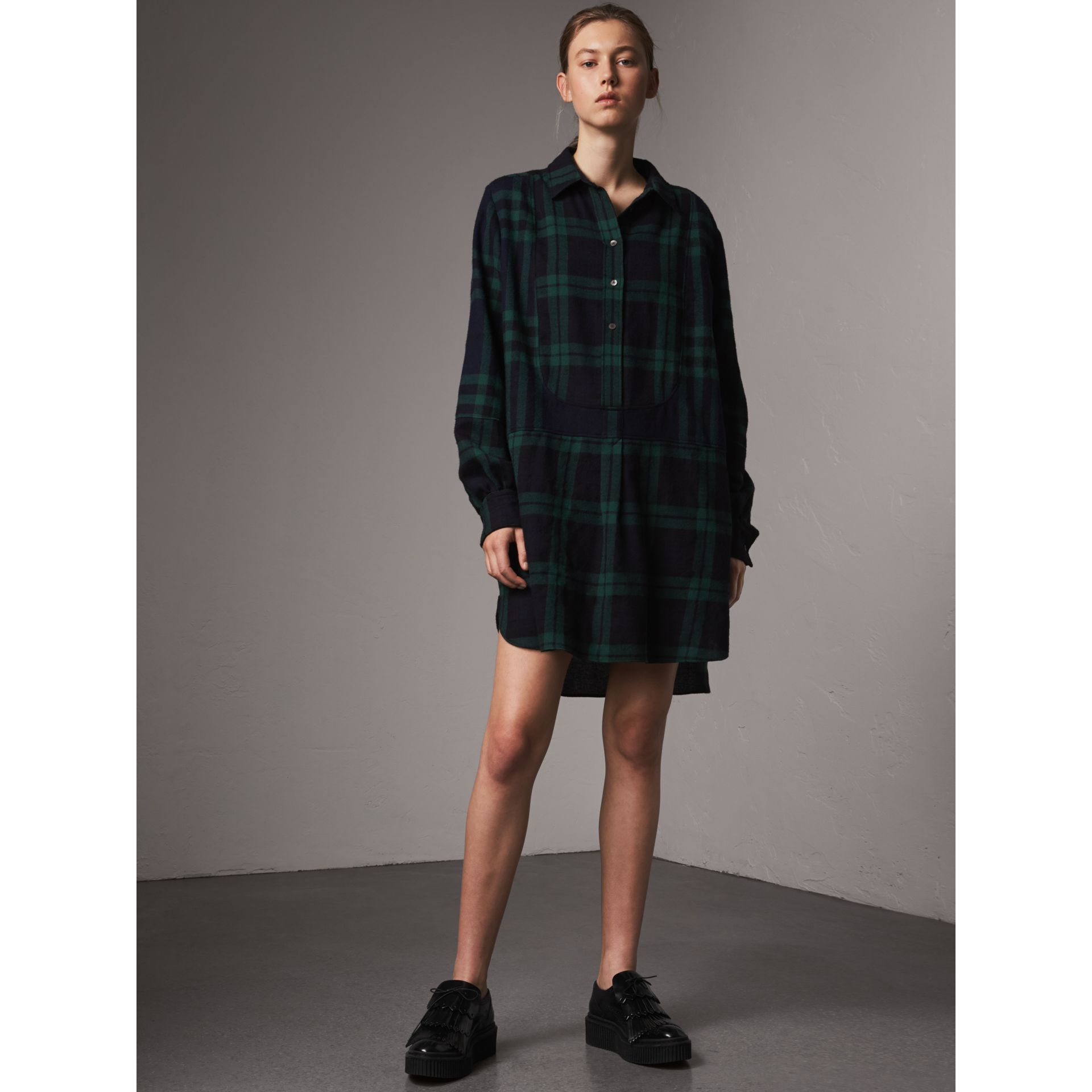 Check Wool Tunic Dress in Navy - Women | Burberry United Kingdom - gallery image 1