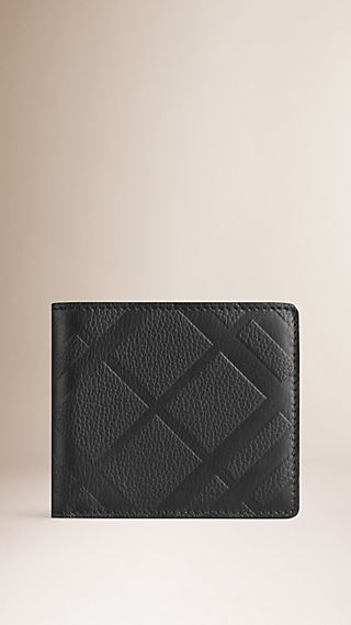 Embossed Check Leather Folding Wallet