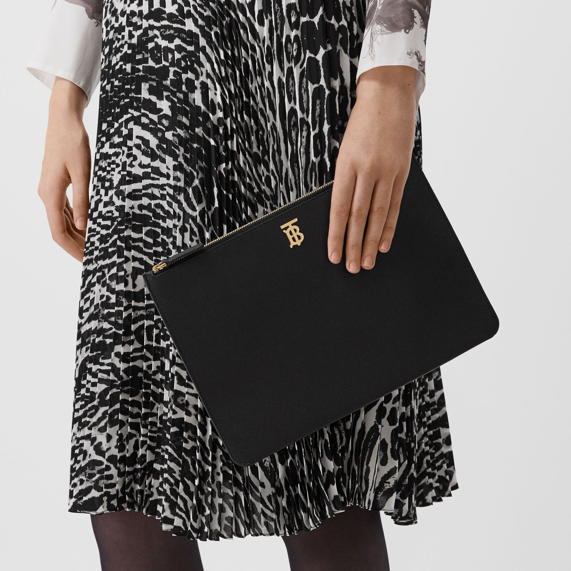 Monogram Motif Grainy Leather Pouch in Black - Women | Burberry - gallery image 2