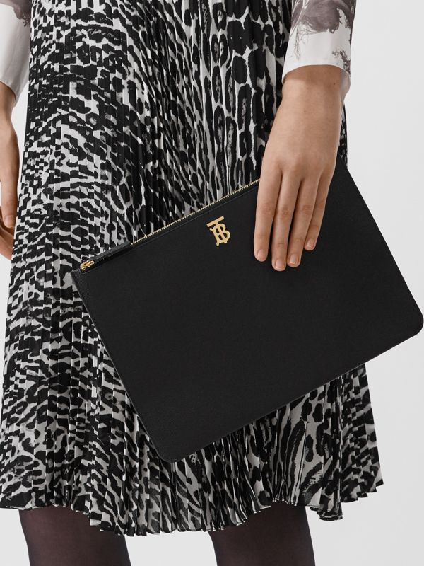 Monogram Motif Grainy Leather Pouch in Black - Women | Burberry United States - cell image 2