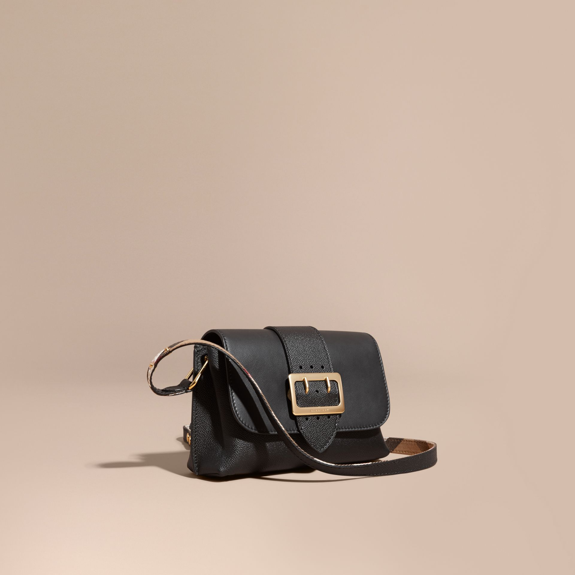 The Buckle Crossbody Bag in Leather Black - gallery image 1