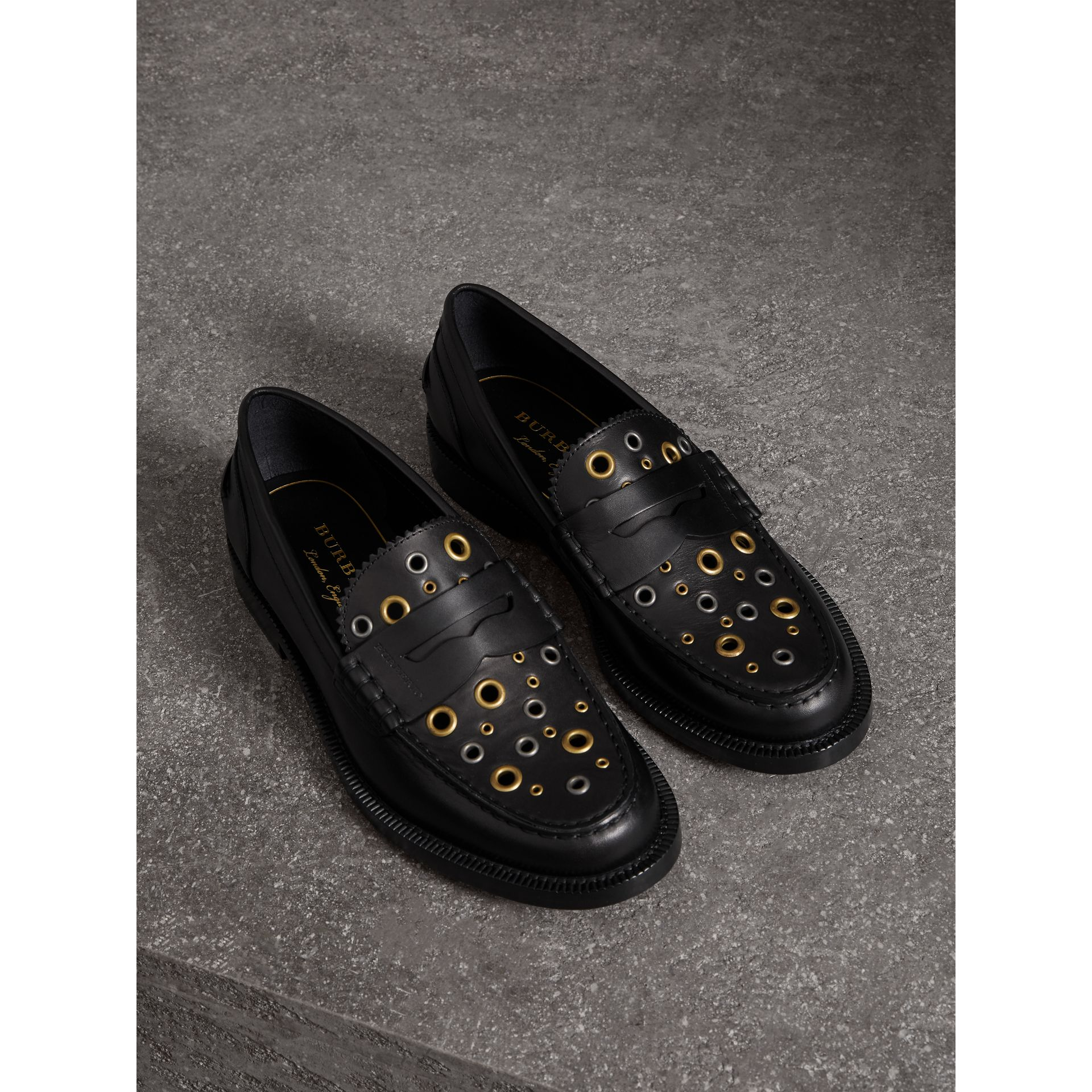 Eyelet Detail Leather Penny Loafers in Black - Women | Burberry Australia - gallery image 0