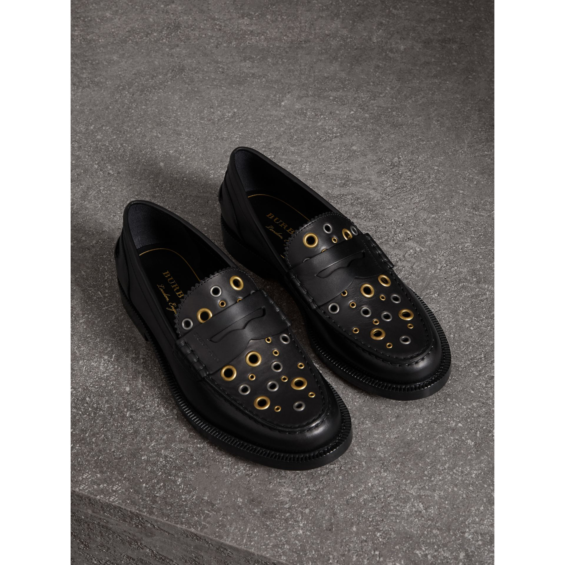 e30d9b75b528 BURBERRY EYELET DETAIL LEATHER PENNY LOAFERS