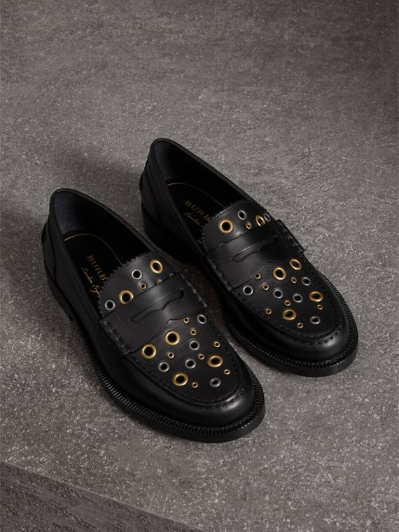 Eyelet Detail Leather Penny Loafers in Black