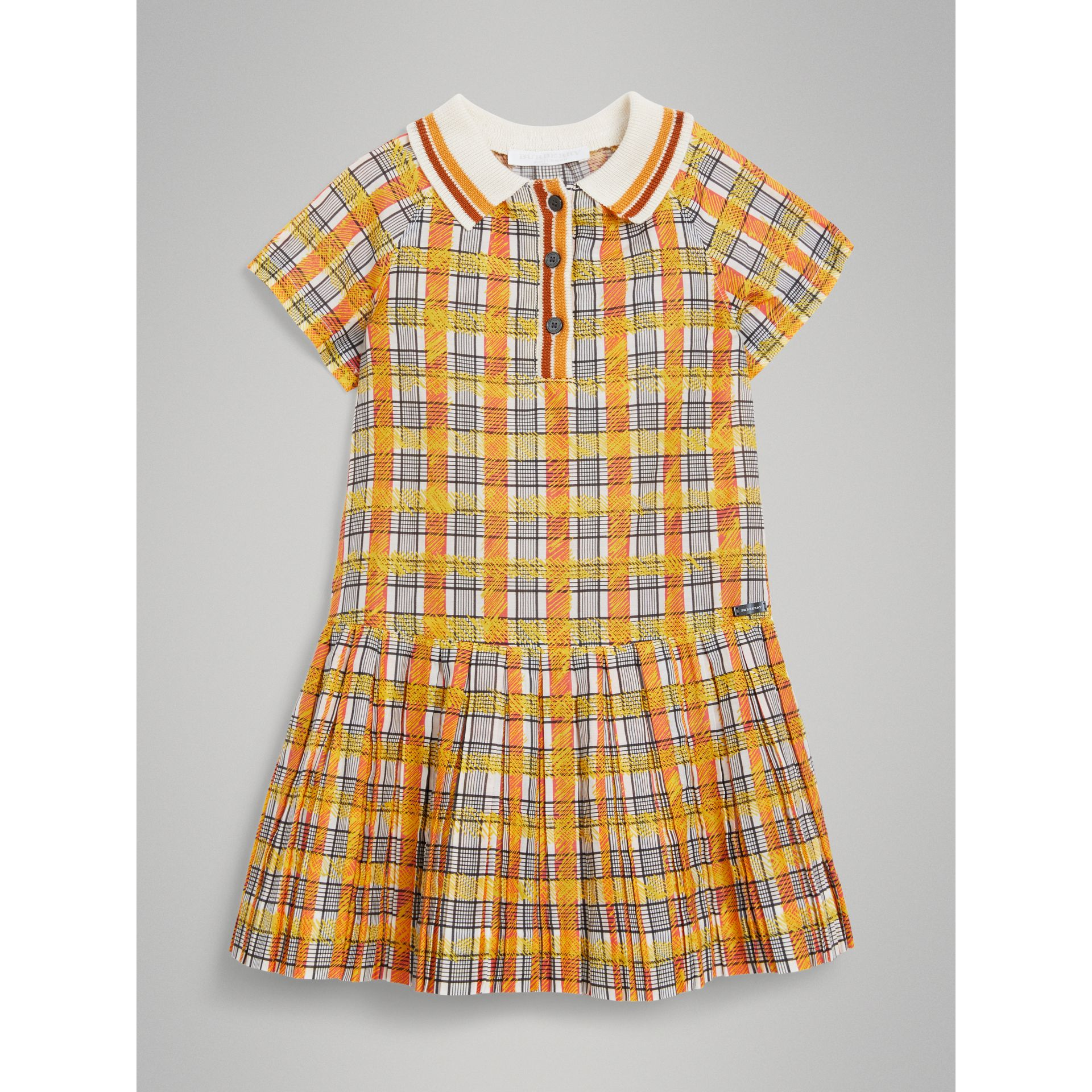 Scribble Check Collared Day Dress in Bright Yellow | Burberry - gallery image 0
